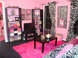 Girly Window Curtains by Black Wooden Shelves And Black Wooden Table On Pink Fur Rug Added