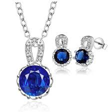 blue stone necklace earrings images Elegant blue crystal sterling silver jewelry set necklace and jpg