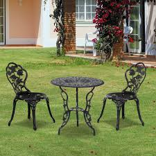 Aluminium Bistro Chairs Outsunny 3 Pc Bistro Set Cast Aluminum Steel Bronze Aosom Co Uk