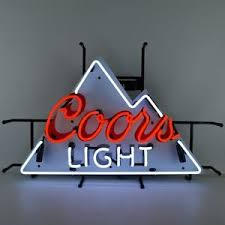 vintage coors light neon sign coors light neon sign rocky mountain miller coors nfl beer silver