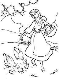 belle feeding chickens coloring pages belle feeding chickens
