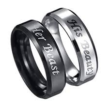 steel promise rings images His beauty her beast engraved ring stainless steel jpg
