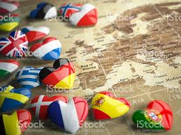 World Map Country Flags Map Of Europe And Hearts With Flags European Countries Stock Photo