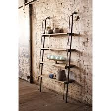Leaning Bookcase Woodworking Plans by Rustic Wood Leaning Wall Ladder Bookshelf On Green Painted Room