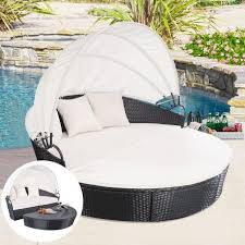 patio daybed with canopy wooden deck pattern and greey cushion