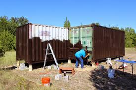 shipping container cabin u0026 observatory painting containers blue