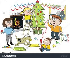 vector cartoon happy family christmas tree stock vector 57174460