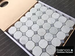 carrara bianco 2 gray dot octagon mosaic tile the builder depot