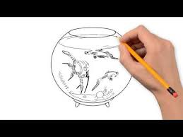 fish in the aquarium animals pencil to draw step by step youtube
