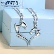 couples puzzle heart necklace images Blue sweet couple necklaces fire half heart necklaces for women jpg