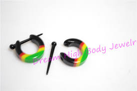 reggae earrings ear stretchers hoop earring acrylic rasta tribal ethnic