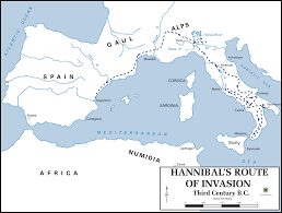 Blank Map Of Italy by Map Of Hannibals Route Into Italy Illustration Ancient History