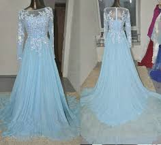 light blue long sleeve dress real pictures prom dresses 2018 light blue long sleeve chiffon a