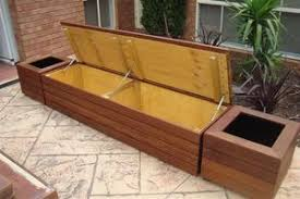 Outside Storage Bench Outdoor Built In Seats Jarrah Or Merbau Hinged Lids With Plenty