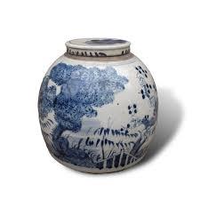 ginger jar with blue and white underglaze decoration