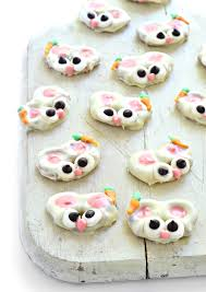 white chocolate bunny easter bunny pretzel bites fork and beans