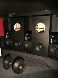 big home theater subwoofer 4 18 cubic ft flared slot ported build using 4 b u0026c 21ds115 4