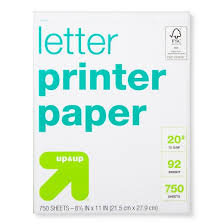 printer paper letter size 20lb 750ct white up up target