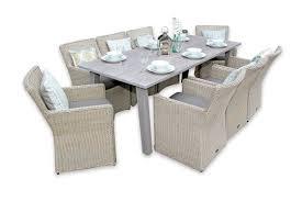 rattan dining set rectangular 8 seater garden table grey