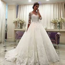 wedding dresses for women new white ivory 3 4 sleeve lace a line wedding dress bridal gown