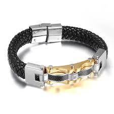 stainless mens bracelet images Crucible men 39 s braided leather and stainless steel bracelet sophgent jpg