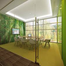 forest meeting room suitable for 8 people with green colored