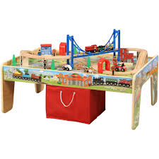 wooden train set table 50 piece train set with 2 in 1 activity table walmart com