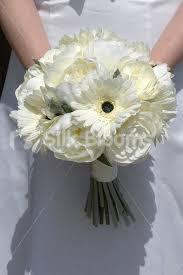 silk wedding flowers modern ivory gerbera and peony artificial bridal wedding bouquet