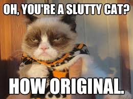 Original Grumpy Cat Meme - oh you re a slutty cat how original halloween grumpy cat