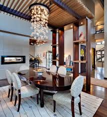rectangular bubble chandelier dining room eclectic with dining