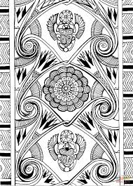ancient egypt pattern with scarabaeus sacer and lotus coloring