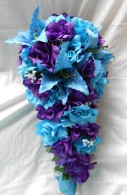 Purple Lillies Purple And Turquoise Blue Cascade Wedding Bouquet Lilies And