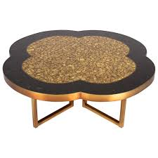Black Glass Coffee Table Gold Leaf And Black Glass Mosaic Quatrefoil Coffee Table On Bronze