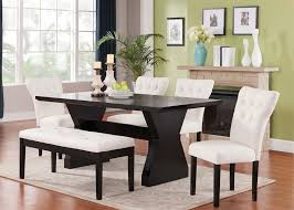 Espresso Dining Room Furniture with Dining Table Set Bench 6 Pieces Espresso Finish Linen Parson