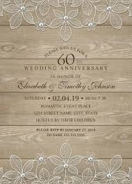 25th Anniversary Invitation Cards Wood 60th Wedding Anniversary Invitations Lace And Pearls Cards