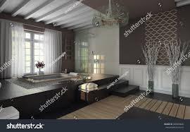 luxury bathroom brown colors 3d rendering stock illustration