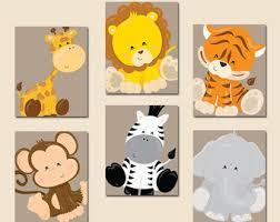baby boy safari nursery wall art jungle animals artwork