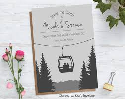 save the date card mountain gondola save the date card blue weddings