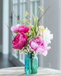 flower arrangements peony and dahlia silk flower arrangement only at officescapesdirect
