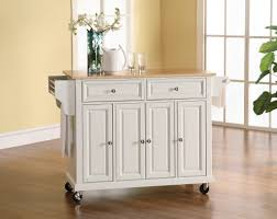 kitchen natural wood top white kitchen island cart in white