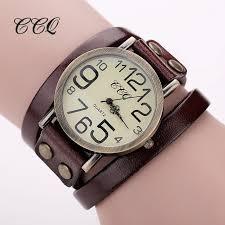 leather ladies bracelet images Ccq brand hot antique leather bracelet watch vintage women wrist jpg
