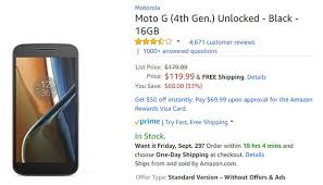 amazon offer on black friday deal moto g4 price drops to just 120 33 off on amazon