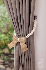 Rope Tiebacks For Curtains White Cotton Rope And Burlap Bow Curtain Tie Backs Shabby Chic