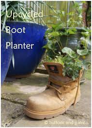 buttons and paint and an upcycled boot planter