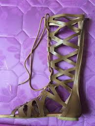 shoes women knee high gladiator sandals hollow out large size