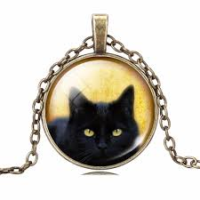 black cat pendant necklace images Black cat vintage pendant jpg