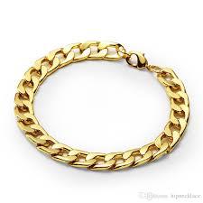 bracelet chain gold man images Fashion design men cuban chain bracelets hip hop gold color jpg