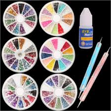 9pc nail art kit dotting tools glue u0026 6 wheels of various stones