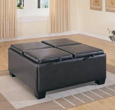 ottomans leather top coffee table vintage black leather coffee
