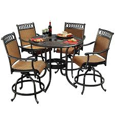 Patio High Table by Shop Sunjoy 5 Piece Aluminum Patio Dining Set At Lowes Com